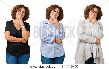 poster of Collage of middle age senior woman over white isolated background looking confident at the camera with smile with crossed arms and hand raised on chin. Thinking positive.