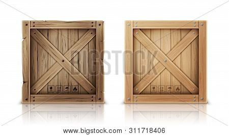 Wooden Box Closed By Metal Nails Realistic Vector Illustration. New And Aged Wooden Crate Or Cargo B
