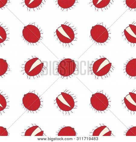 Fruit Rambutan Seamless Pattern, Great Design For Any Purposes. Hand Drawn Fabric Texture Pattern. H