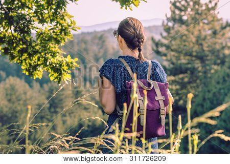 Woman Hiker Hike Alone On Mountain's Peak.
