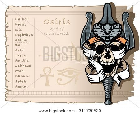 Template For T-shirts And Tattoos On The Theme Of The Ancient Egyptian Gods. Osiris, The God Of The
