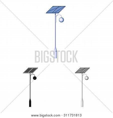 Vector Design Of Lamppost And Solar Symbol. Set Of Lamppost And Alternative Stock Symbol For Web.