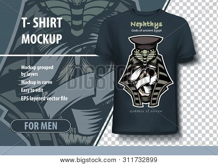 T-shirt Template In Vector. Nephthys Is The Goddess Of Sadness In Ancient Egyptian Mythology