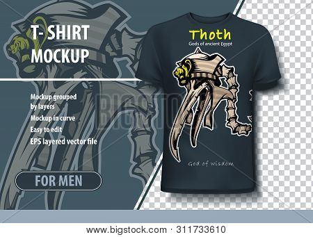 Thoth God Of Wisdom In Ancient Egypt. Layout In Vector For Printing On T-shirt