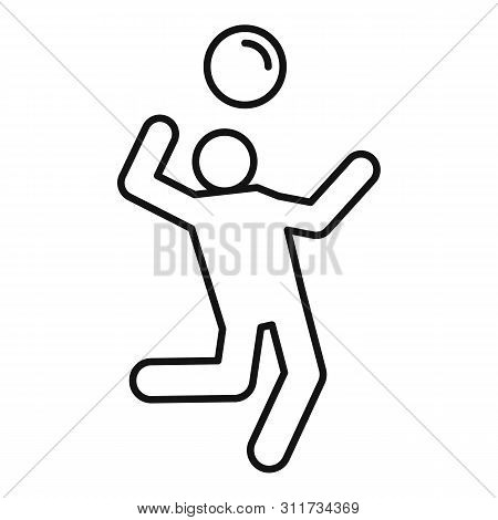 Volleyball Player Atack Icon. Outline Volleyball Player Atack Vector Icon For Web Design Isolated On