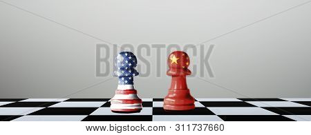 Usa Flag And China Flag Print Screen On Chess With Grey Background.it Is Symbol Of Tariff Trade War