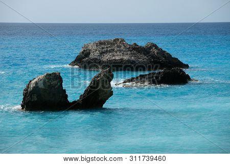 Rocks in the sea, Avali beach, Lefkada island, Greece.