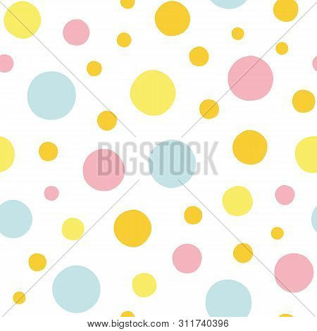 White Vector Repeat Pattern With Blue, Yellow And Pink Polka Dots. Pastel Colors. Perfect For Paper