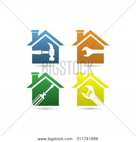 Home Icon Vector, Home Renovations Logo, Home Repair Logo, Home Logo, Creative Real Estate Logo, Pro