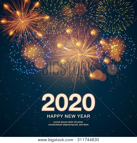Happy New Year 2020 - Marry Christmas Background With Fireworks 2020 - Vector