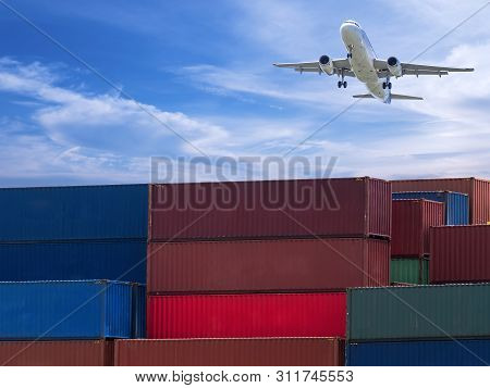 Airplane Fly Over Container Box In The Cargo For Import Export With Logistic Or Freight Shipment Ind