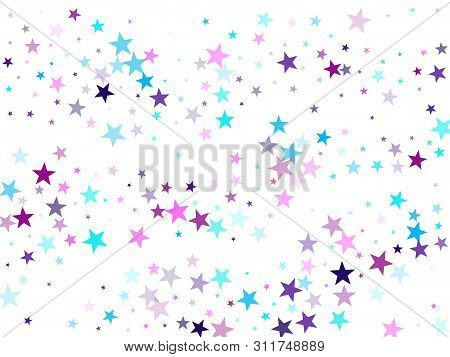 Flying Stars Confetti Holiday Vector In Cyan Blue Violet On White. Sky Space Concept Funny Artwork.