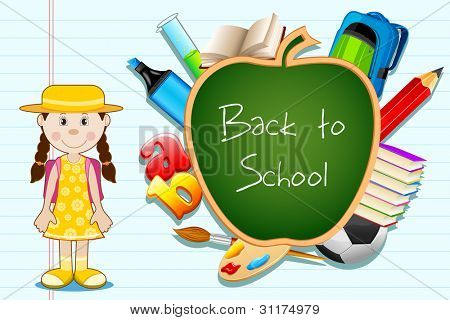 illustration of education item popping out from apple shape black board with student standing