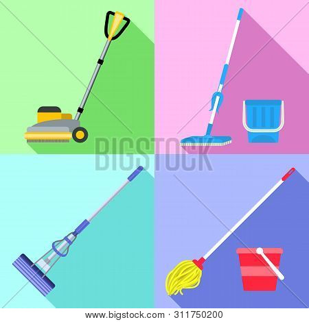 Mop Icons Set. Flat Set Of Mop Vector Icons For Web Design