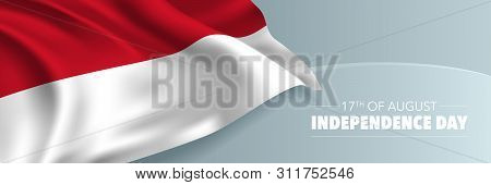 Indonesia Happy Independence Day Vector Banner, Greeting Card. Indonesian Wavy Flag In 17th Of Augus