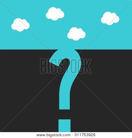 Deep Question Mark Shaped Pitfall, Abyss Or Gap. Big Problem, Confusion, Danger, Risk, Emergency And