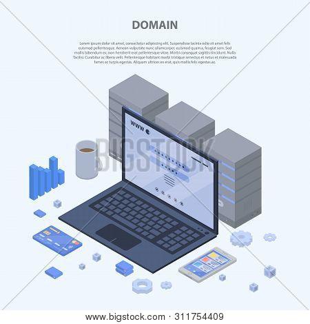 Domain Concept Banner. Isometric Illustration Of Domain Vector Concept Banner For Web Design