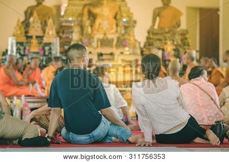 Buddhist Ordination Ceremony In The Church Of Buddhist Temple In Thailand