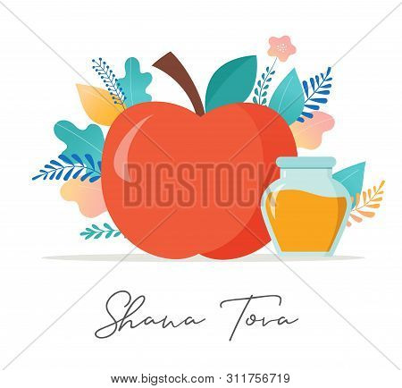 Rosh Hashana, Jewish Holiday, New Year Scene With An Apple, Honey, Flowers And Leaves. Flat Cartoon