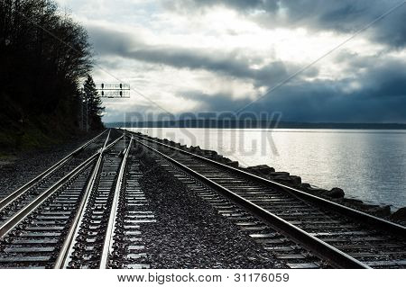 railroad tracks along puget sound