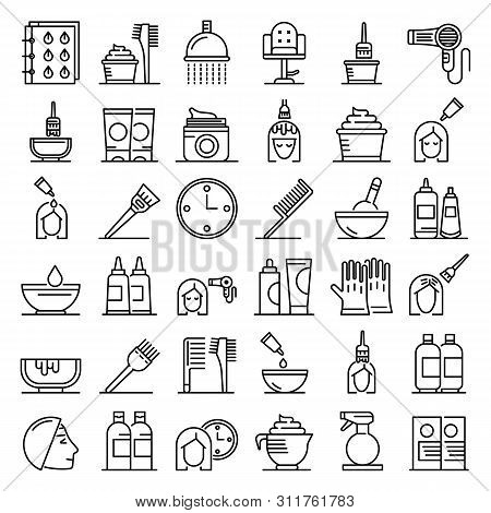 Hair Dye Icons Set. Outline Set Of Hair Dye Vector Icons For Web Design Isolated On White Background