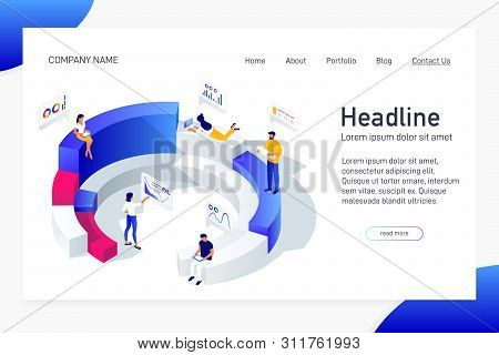Concept Of Web Site Main Page, Landing Page With Isometric Concept Business Statistics, People Analy