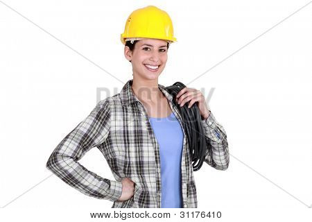beaming female craftswoman isolated on white