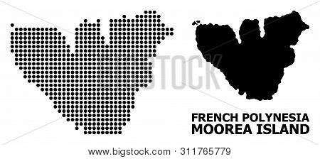 Dot Map Of Moorea Island Composition And Solid Illustration. Vector Map Of Moorea Island Composition