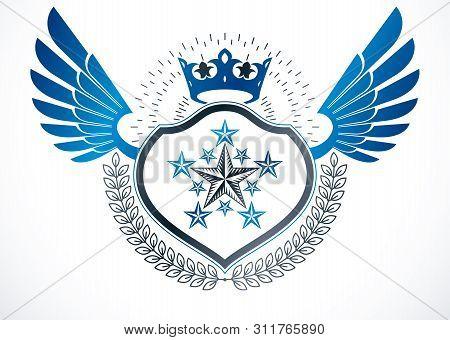 Luxury Heraldic Vector Winged Emblem. Vector Blazon Created Using Monarch Crown, Pentagonal Stars An