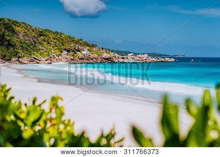 Petite Anse - Sandy Tropical Paradise Beach On La Digue In Seychelles. Travel Exclusive Concept