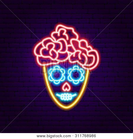 Mexican Catrina Neon Sign. Vector Illustration Of Day Of The Dead Promotion.