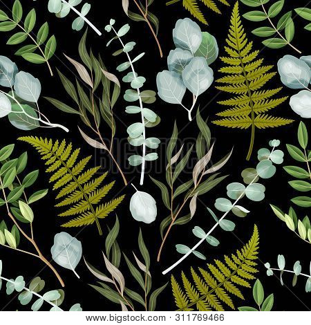 Vector Seamless Pattern With High Detailed Leaves