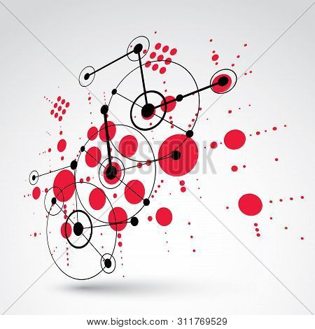 poster of 3d vector Bauhaus abstract background made with grid and overlapping simple geometric elements, circles and lines. Retro style artwork in red color, graphic template for advertising poster.
