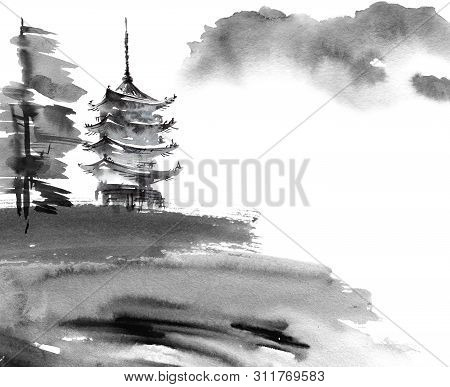 Watercolor And Ink Illustration Of Chinese Landscape With Pagoda And Trees In Style Sumi-e, U-sin. T