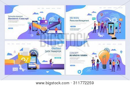 Landing Pages Template Set For Business, Finance, Resurce Management, Partnership Agreement Concept.