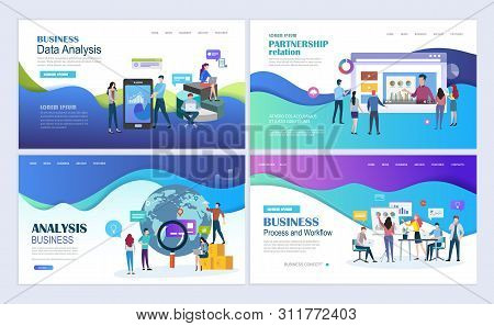 Landing Pages Template Set For Business, Finance, Data Analysis And Marketing. Modern Flat Design Co