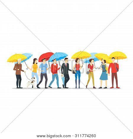 Cartoon Characters People Holding Umbrella Crowd. Vector