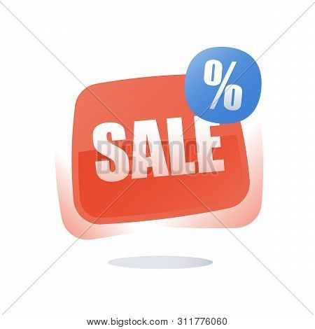 Big Sale, Percentage Sign Red Button, Discount Store Label, Special Offer Tag Announcement, Season C