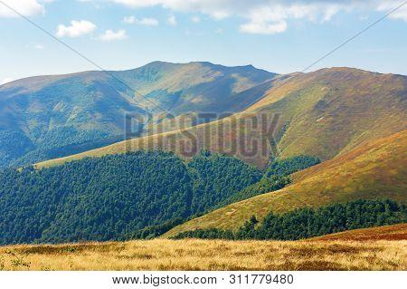 Beautiful Mountain Landscape.ridge In The Distance. Late Summer Scenery.