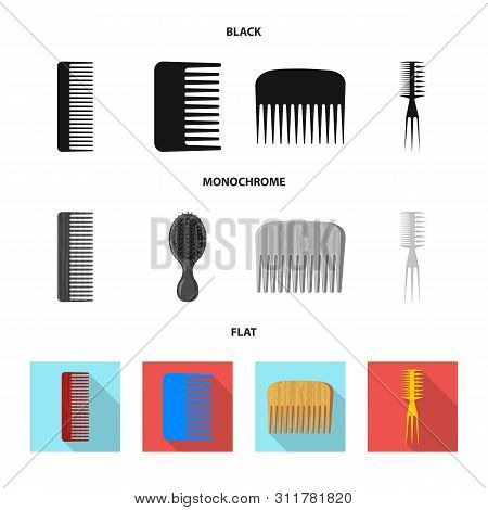 bitmap design of brush and hair sign. Set of brush and hairbrush stock bitmap illustration. poster