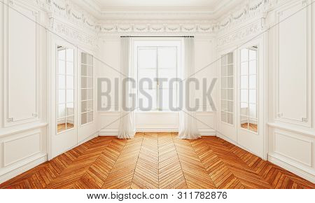 Classic Wall Interior And Modern Frame With Parquet, Empty Room, 3d Rendering