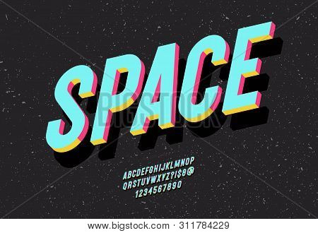 Space Typeface 3d Bold Colorful Style. Alphabet Cool Colorful Trend Style. Font Modern Typography Fo