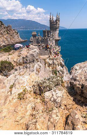 Gaspra, Crimea - July 7. 2019. Castle Of Swallows Nest On The Cape Ai-todor Of Black Sea Coast
