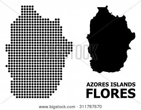 Pixel Map Of Azores - Flores Island Composition And Solid Illustration. Vector Map Of Azores - Flore