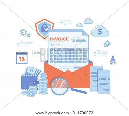 Payment And Invoicing. Online Paying, Bookkeeping, Accounting. Internet Banking Concept. Invoice In