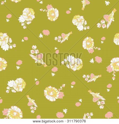 Blooming Pink Green Mallow Flower Garden Seamless Repeat Vector Pattern Background For Fabric, Scrap