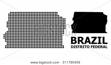 Dotted Map Of Brazil - Distrito Federal Composition And Solid Illustration. Vector Map Of Brazil - D