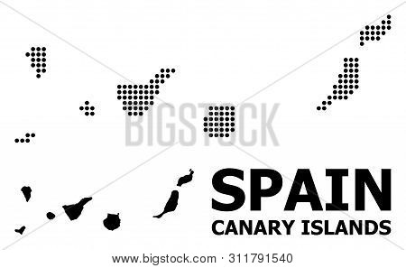Dotted Map Of Canary Islands Composition And Solid Illustration. Vector Map Of Canary Islands Compos