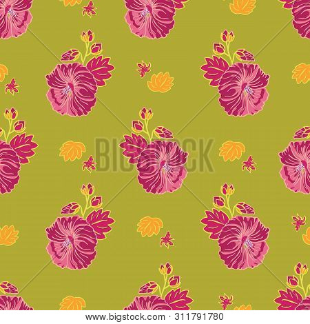 Blooming Red Mallow Flower Garden Seamless Repeat Vector Pattern On Green Background For Fabric, Scr
