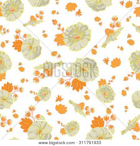 Blooming Orange Green Mallow Flower Garden Seamless Repeat Vector Pattern Background For Fabric, Scr
